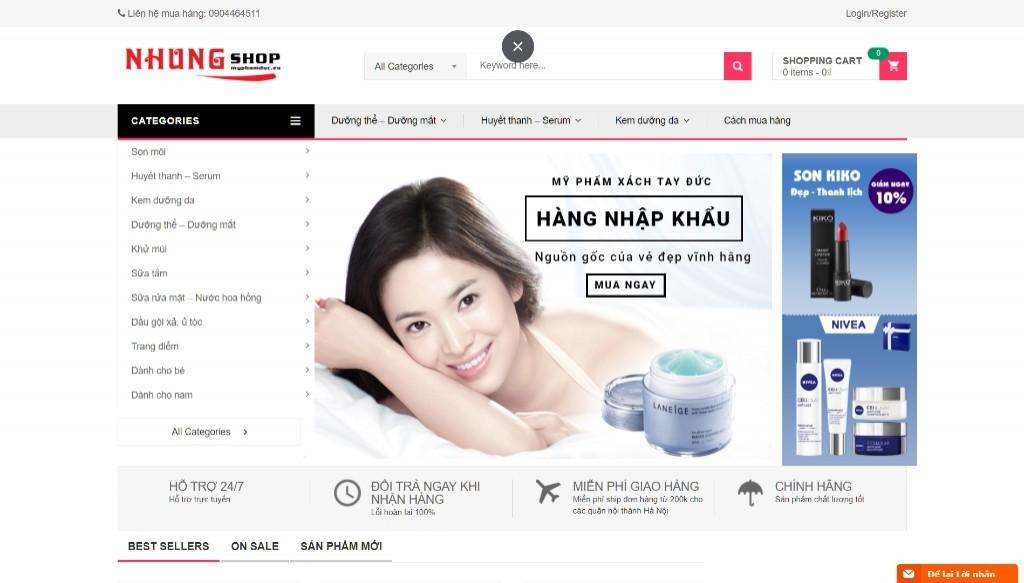 Siêu thị mỹ phẩm Đức bán chạy nhờ Theme KuteShop