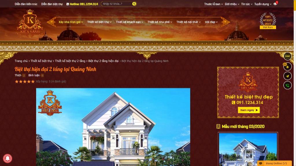 Mẫu thiết kế website thiết kế kiến trúc đẹp năm 2020
