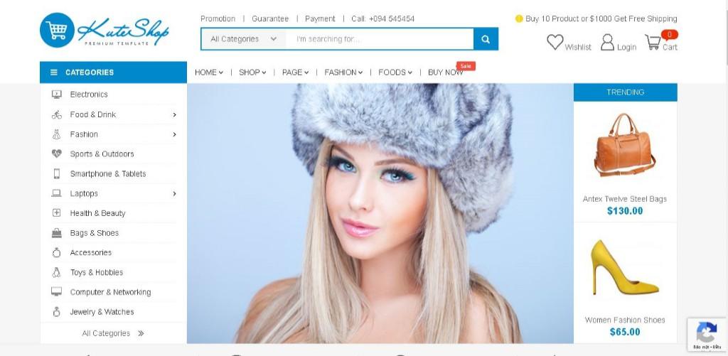 Mẫu web bán hàng thời trang chuẩn SEO 2020